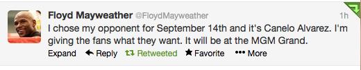Floyd Mayweather Tweet
